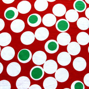 "Large Christmas Polka Dot Cotton Lycra Knit Fabric - 22"" Remnant"