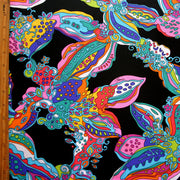 Large Colorful Paisley on Black Nylon Lycra Swimsuit Fabric