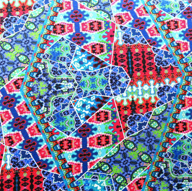 Large Scale Colorful Abstract Mosaic Nylon Swimsuit Fabric