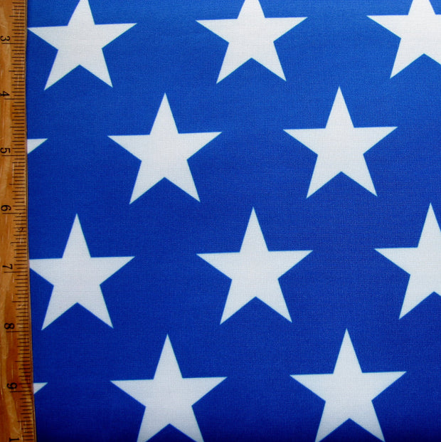 Large White Stars on Blue Swimsuit Fabric