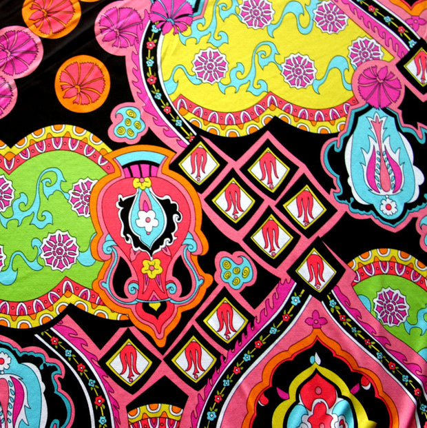 Large Vibrant Paisley Nylon Lycra Swimsuit Fabric