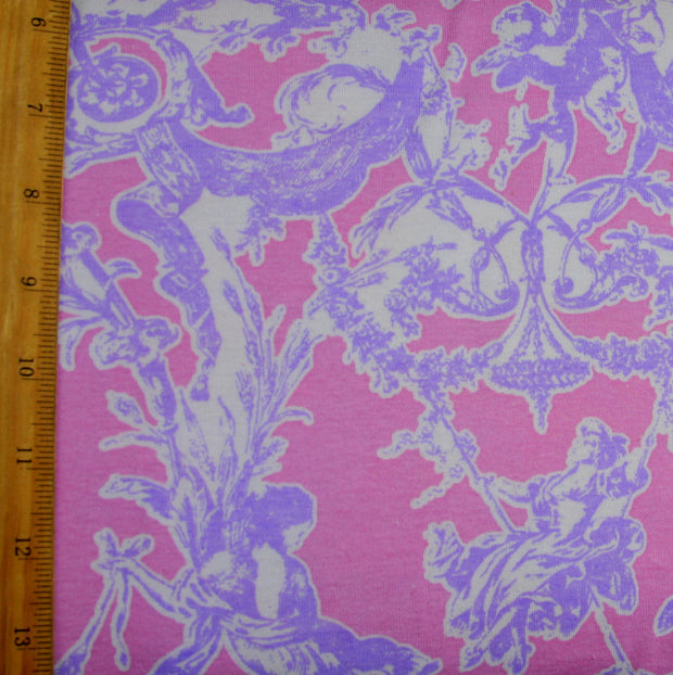 Lavender Toile on Pink Cotton Knit Fabric