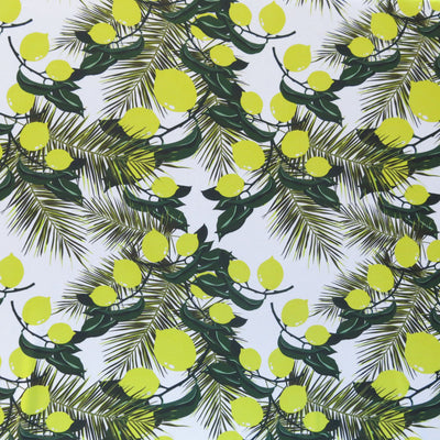 Lemon Branches Poly Spandex Swimsuit Fabric