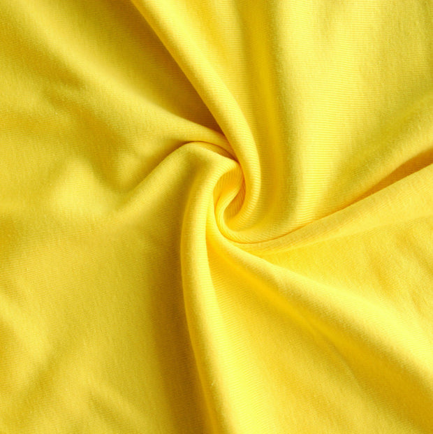Lemon Yellow Cotton Rib Knit Fabric