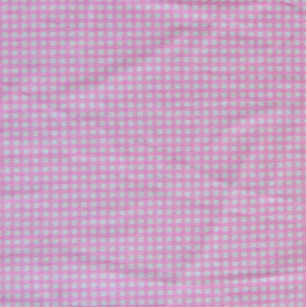 Light Pink and White Gingham Cotton Knit Fabric