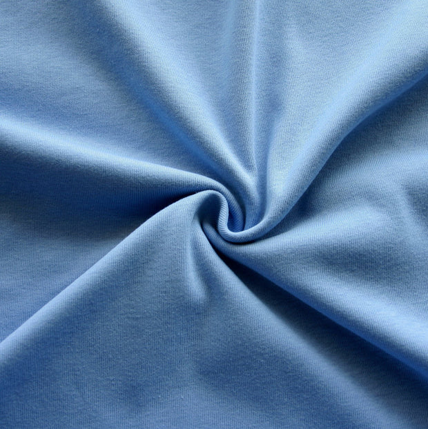 Light Sky Blue Cotton Rib Knit Fabric