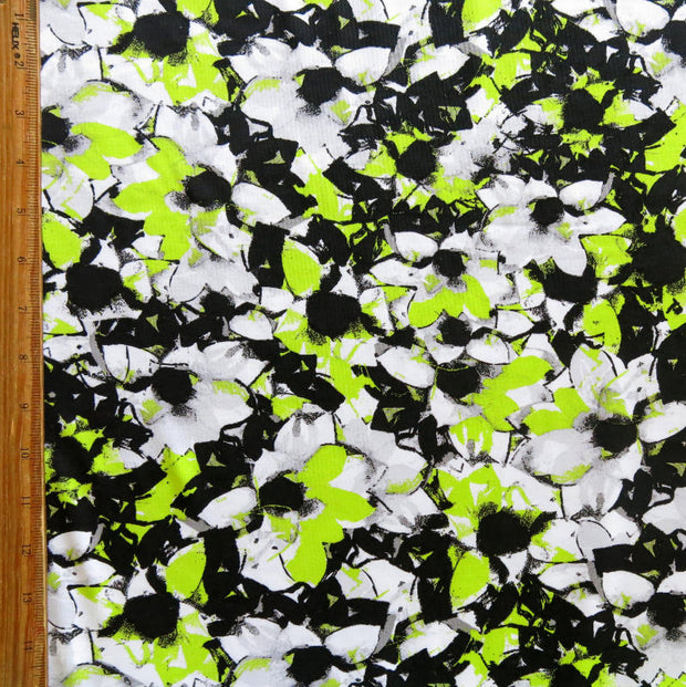Black, Lime, and Grey Abstract Nylon Spandex Swimsuit Fabric