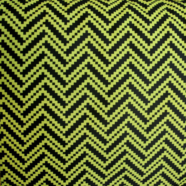 Lime/Black Digital Zig Zags Nylon Lycra Swimsuit Fabric