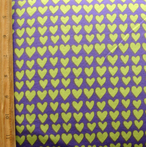 Lime Green Hearts on Purple Cotton Lycra Knit Fabric