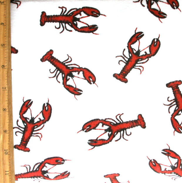 Red Lobsters on White Cotton Knit Fabric