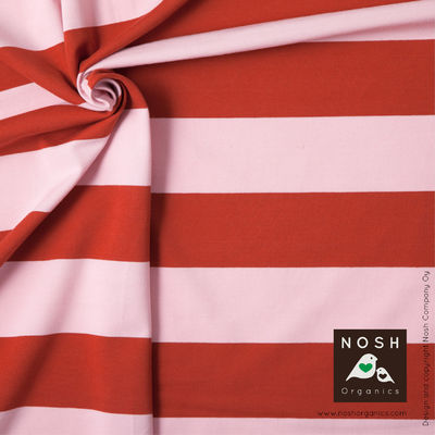 Powder Pink and Ketchup Wide Stripe Organic Cotton Lycra Knit Fabric by Nosh Organics