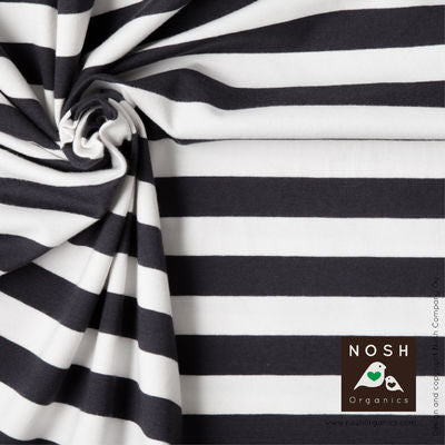 Graphite/Natural Stripe Organic Cotton Lycra Knit Fabric by Nosh Organics