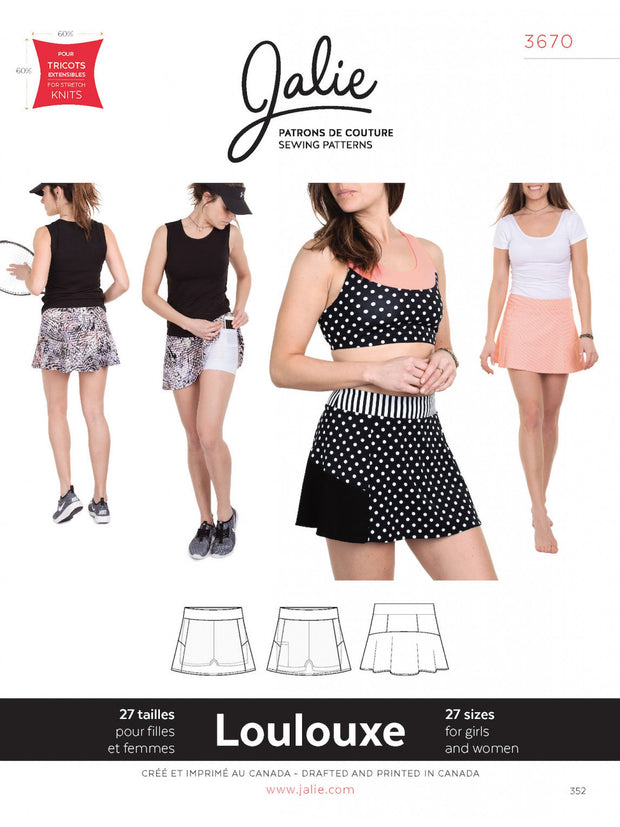 Loulouxe Skort Sewing Pattern by Jalie