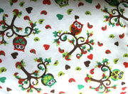 Love Birds and Owls Cotton Knit Fabric - 15 Yard Bolt
