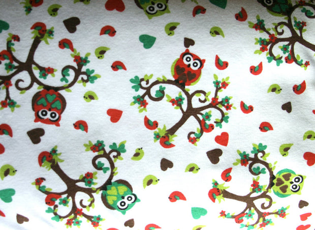 Love Birds and Owls Cotton Knit Fabric