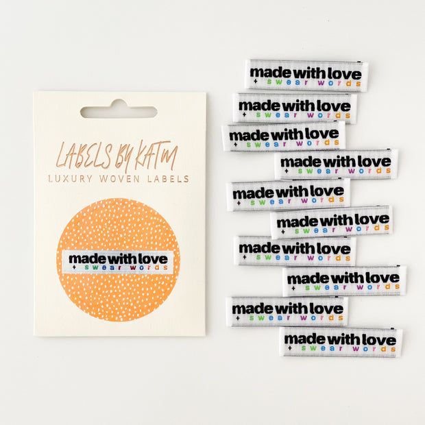 """Made with Love and Swear Words"" 10 Pack Woven Labels by Kylie and the Machine"