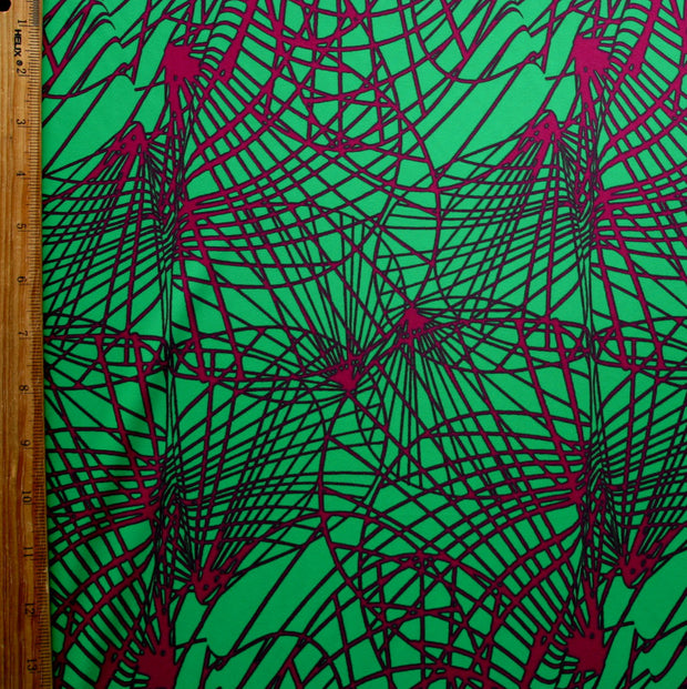Magenta Abstract on Kelly Green Nylon Lycra Swimsuit Fabric