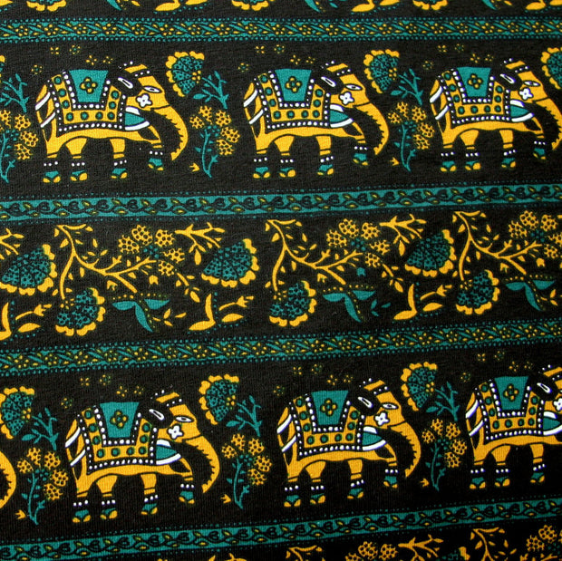 Marrakesh Elephants Cotton Lycra Knit Fabric