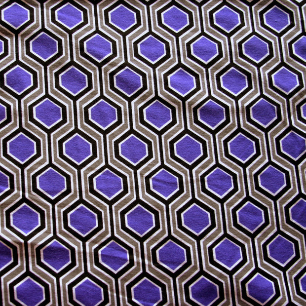 Purple, Grey, and Black Medallions Cotton Lycra Knit Fabric by Anita G