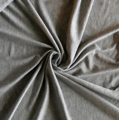 Medium Heathered Grey Bamboo Lycra Jersey Knit Fabric