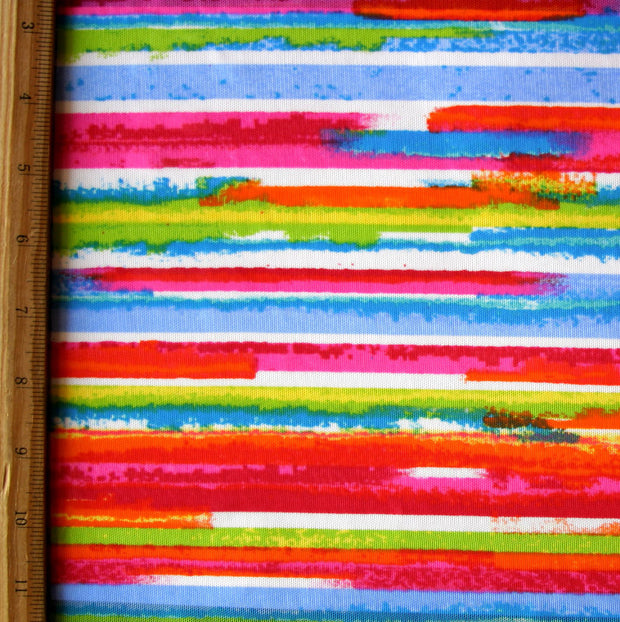 Rainbow Stripe Mesh Fabric
