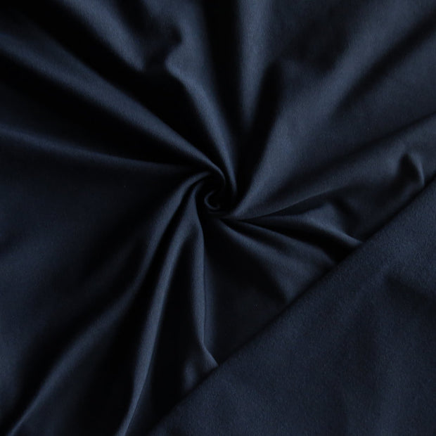 Midnight Blue Poly Lycra Fleece Back Knit Fabric