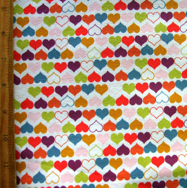 Colorful Mini Hearts Cotton Lycra Knit Fabric
