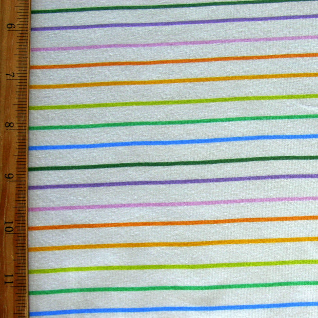 Mini Rainbow Stripes on Creme Cotton Lycra Knit Fabric