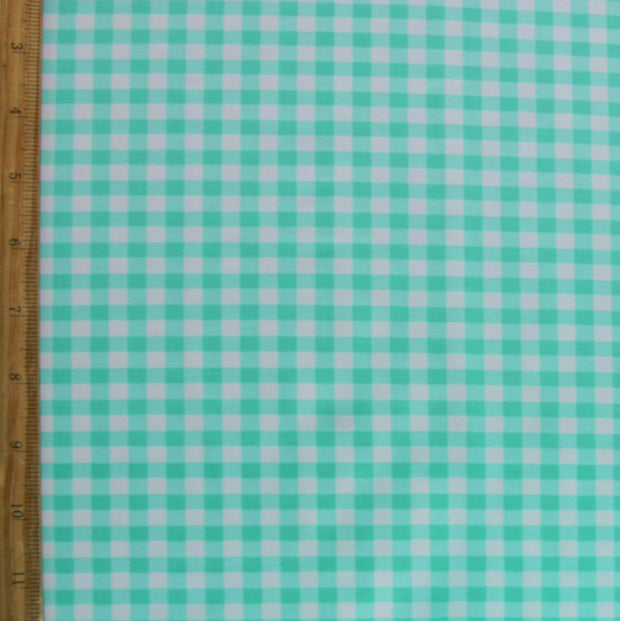 Mint Picnic Gingham Nylon Lycra Swimsuit Fabric