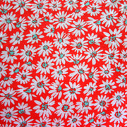 Mod Daisies on Red Cotton Lycra Knit Fabric