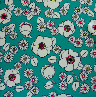 Mod Floral on Green Nylon Lycra Swimsuit Fabric