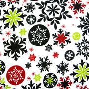 Mod Snowflakes on White Cotton Knit Fabric