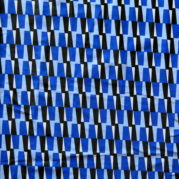 Mod Triangles Nylon Spandex Swimsuit Fabric, Blue Colorway
