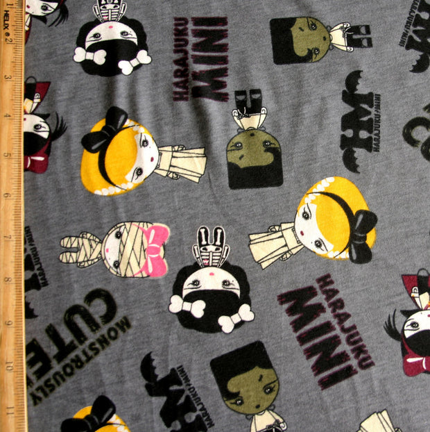Monstrously Cute Grey Cotton Knit Fabric
