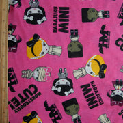 Monstrously Cute Pink Cotton Knit Fabric