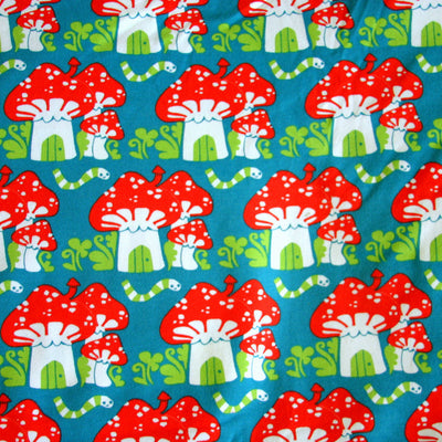 Mushroom Houses Organic Cotton Lycra Knit Fabric by Mussukat