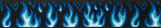 Blue Flames Woven Ribbon Trim by Raphael Kerley