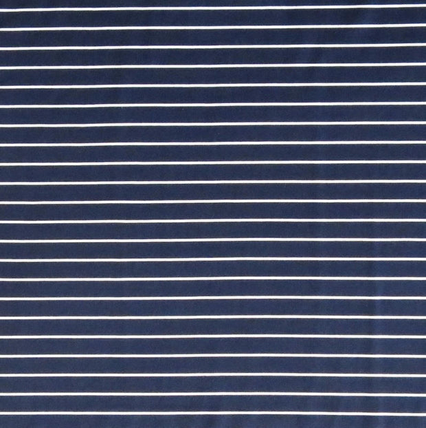 Navy 3/8 Inch and White Micro Stripe Nylon Spandex Swimsuit Fabric