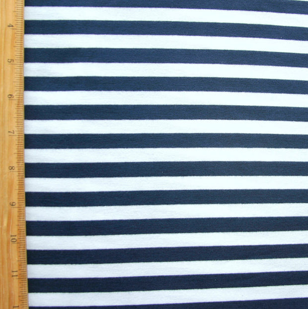 "Navy and White 3/8"" wide Stripe Knit Fabric"