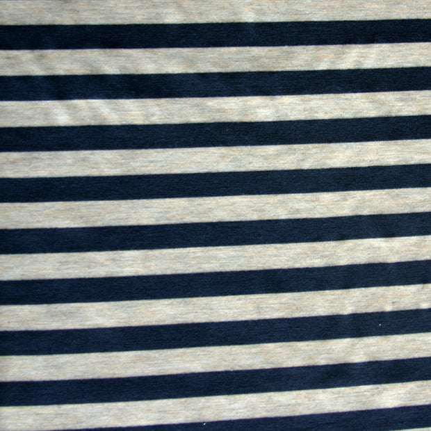 Navy/Heathered Biege Stripe Bamboo Lycra Knit Fabric