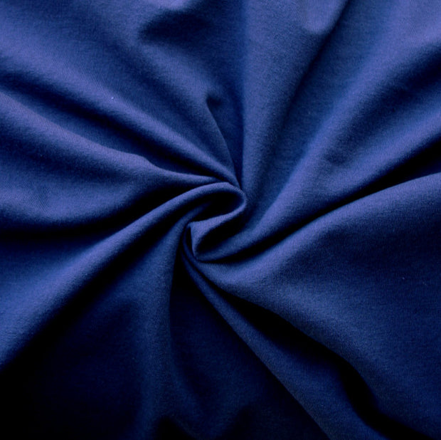 Navy Cotton Lycra French Terry Fabric