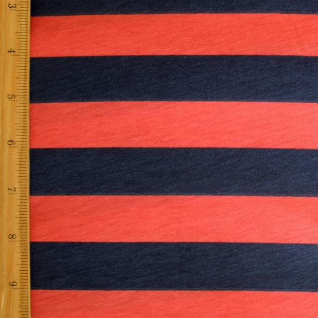 "Navy and Coral 1"" Stripe Knit Fabric"