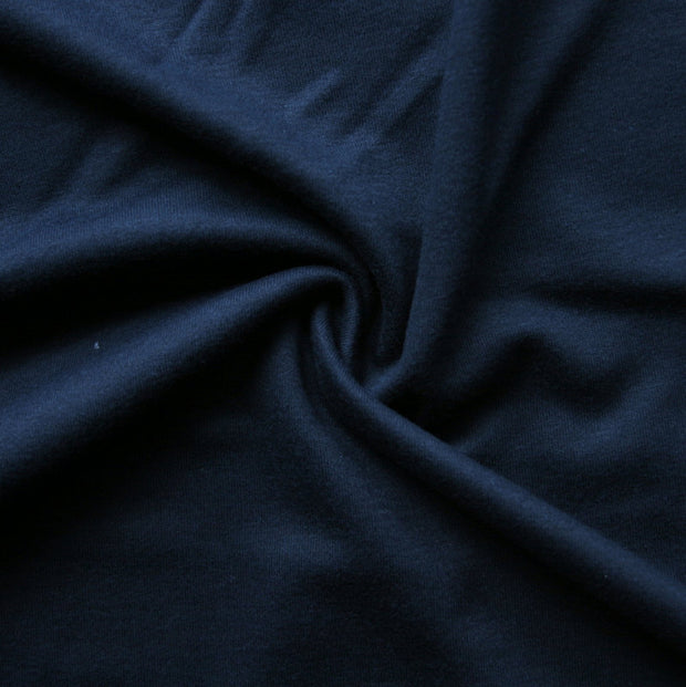 Dark Navy Cotton Interlock Fabric