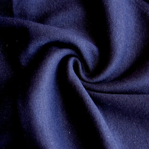 Dark Navy Cotton Lycra Heavy Rib Knit Fabric
