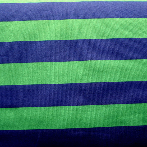 Navy and Green Wide Stripe Nylon Lycra Swimsuit Fabric