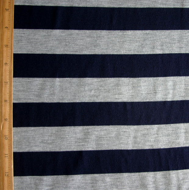 "Navy and Heathered Grey 1 3/8"" Stripe Jersey Knit Fabric"