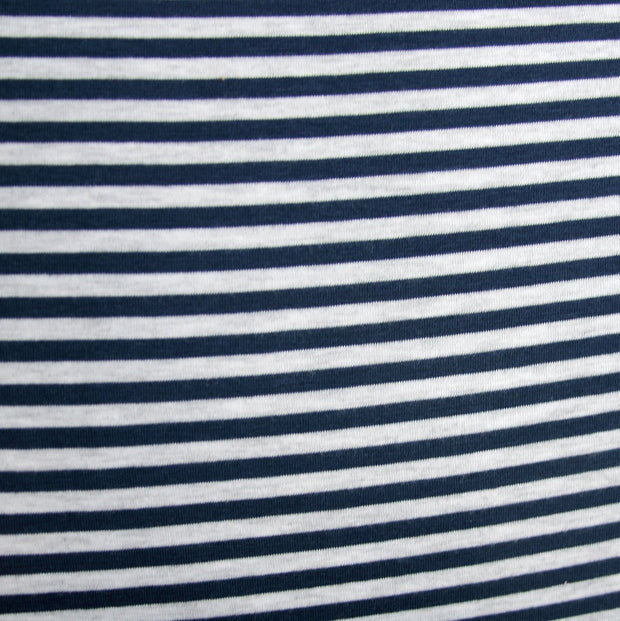 Navy/Heathered Grey Narrow Stripe Bamboo Lycra Knit Fabric