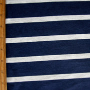 Navy and Heathered Grey Stripe Bamboo Lycra Knit Fabric