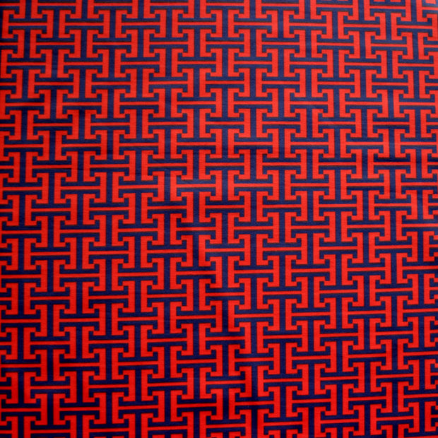 Navy Interlocking Abstract on Red Nylon Lycra Swimsuit Fabric