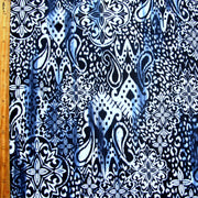 Navy Medallion Abstract Nylon Lycra Swimsuit Fabric